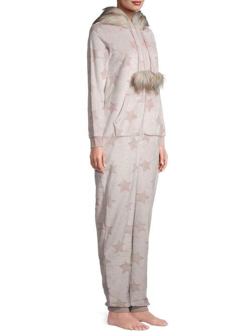Secret Treasures Women's and Women's Plus Faux Fur Trimmed Union Suit