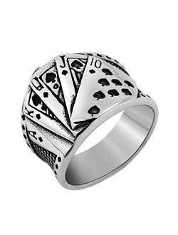 Mens Vintage Poker Games Casino Cocktail Party Stainless Steel Biker Spade Ring