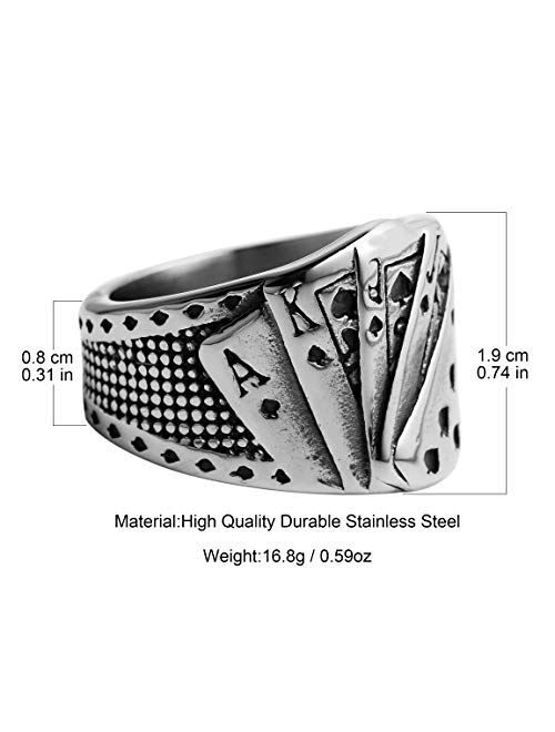 HZMAN Mens Vintage Poker Games Casino Cocktail Party Stainless Steel Biker Spade Ring