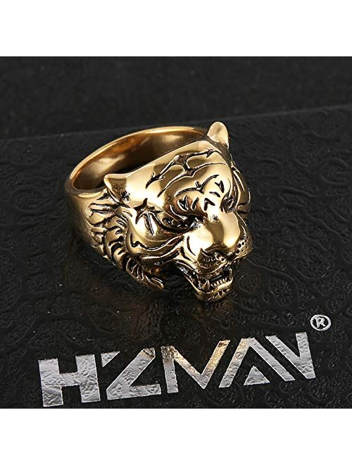HZMAN Men's Vintage Gothic Tribal Biker Tiger Head Skull Stainless Steel Ring Band