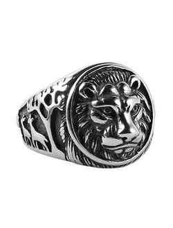 Men's Vintage Stainless Steel Ring Lion Head Shield Biker Gold/silver/black
