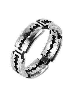 Men's Punk Stainless Steel Silver Gothic Double Edge Blades Ring Bands