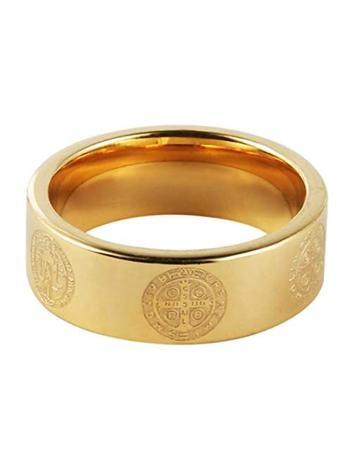 HZMAN Mens 8mm St Benedict Exorcism Ring Stainless Steel Catholic Roman Cross Demon Protection Ghost Hunter Gold Silver