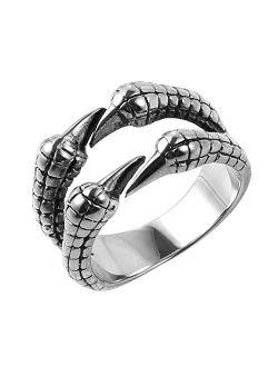 Biker Ring, Punk Dragon Claw Rings, Stainless Steel, Casting Black, Size 8-12 For Women Men Unisex