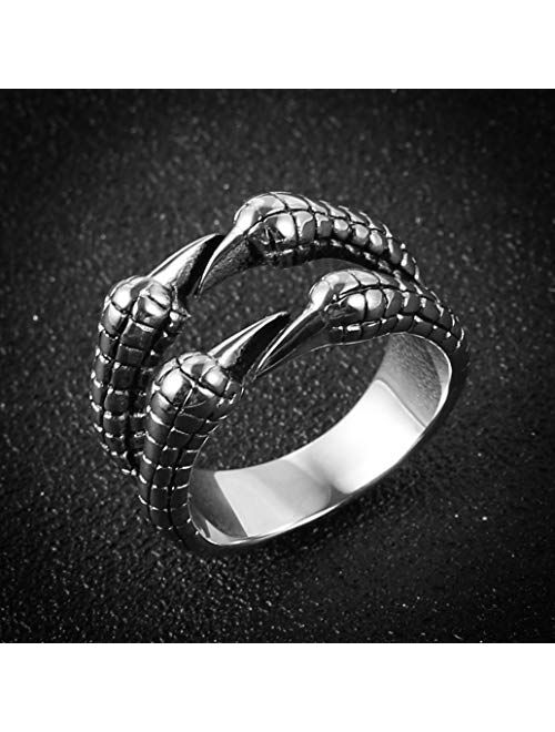 HZMAN Biker Ring, Punk Dragon Claw Rings, Stainless Steel, Casting Black, Size 8-12 for Women Men Unisex