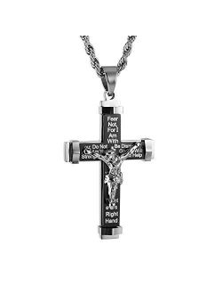 """Men's Crucifix Stainless Steel Cross Lord's Prayer Pendant Necklace With 20"""" 24"""" 28"""" Rope Chain"""