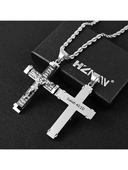 """HZMAN Men's Crucifix Stainless Steel Cross Lord's Prayer Pendant Necklace with 20"""" 24"""" 28"""" Rope Chain"""