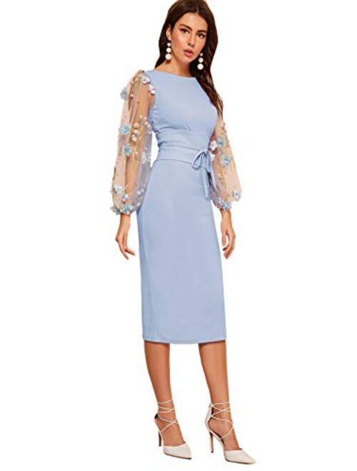 SheIn Women's Elegant Mesh Contrast Bishop Sleeve Tie Front Bodycon Pencil Dress