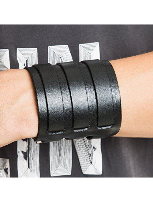 HZMAN Mens Genuine Leather Wide Triple Strap Cuff Wrap Gauntlet Wristband Buckle Fastening Arm Armor Cuff