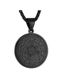 """Vintage Stainless Steel The Seal Of The Seven Archangels Pendant Necklaces 22+2"""" Chain"""
