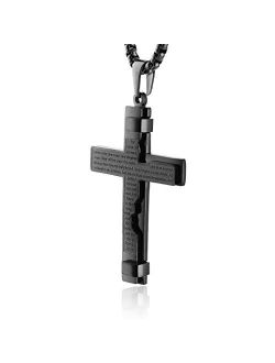 Religion Cross Lord's Prayer Stainless Steel Pendant Necklace Rolo Cable Wheat Chain