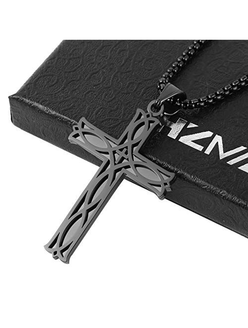 "HZMAN Men's Stainless Steel Infinity Celtic Cross Irish Knot Pendant Necklace, 22+2"" Link Chain"