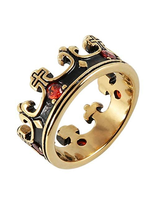 HZMAN Men's Vintage Biker Ruby Royal King Crown Ring Stainless Steel Silver Gold Cross Band