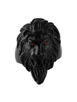 Men's Vintage 316l Stainless Steel Lion Ruby Eyes Rings Heavy Metal Rock Punk Style Gothic Biker Ring Silver Gold Black 3 Colors