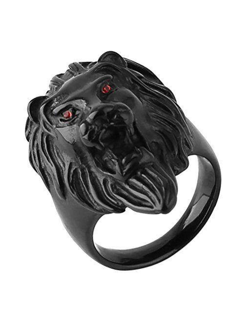 HZMAN Men's Vintage 316L Stainless Steel Lion Ruby Eyes Rings Heavy Metal Rock Punk Style Gothic Biker Ring Silver Gold Black 3 Colors