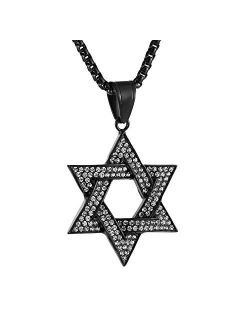 Men Star Of David Iced Out Cz Pendant 18k Gold Plated Stainless Steel Hip Hop Necklace