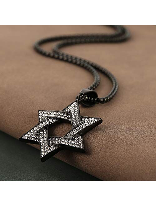 HZMAN Men Star of David Iced Out CZ Pendant 18k Gold Plated Stainless Steel Hip Hop Necklace