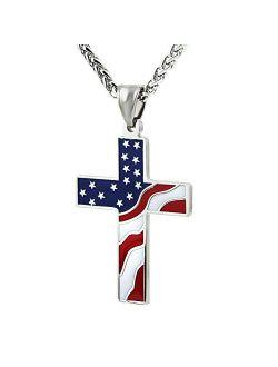 American Flag Patriotic Cross Religious Jewelry Enamel Pendant Necklace