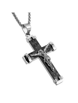Crucifix Stainless Steel Jewelry Jesus Cross Pendant Gold Silver Black Necklace Gift
