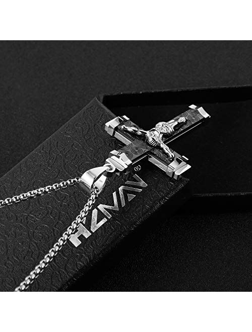 HZMAN Crucifix Stainless Steel Jewelry Jesus Cross Pendant Gold Silver Black Necklace Gift