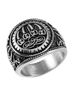 Men's Nordic Viking Wolf Claw Stainless Steel Valknut Odin Symbol Retro Jewelry Ring