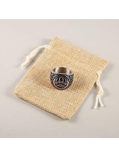 HZMAN Men's Nordic Viking Wolf Claw Stainless Steel Valknut Odin Symbol Retro Jewelry Ring
