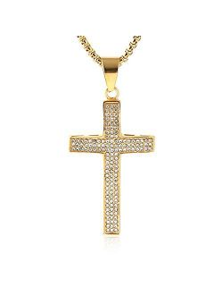 Mens Iced Out Cross Cz Inlay Pendant 18k Gold Plated Stainless Steel Hip-hop Necklace