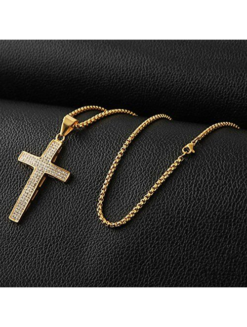 HZMAN Mens Iced Out Cross Cz Inlay Pendant 18k Gold Plated Stainless Steel Hip-Hop Necklace