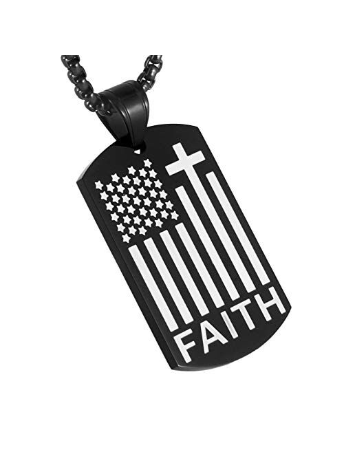 HZMAN American Flag Patriotic Cross Dog Tag Religious Faith Jewelry Pendant Necklace