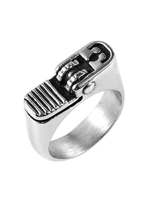 HZMAN Hip Hop Retro Men's Classic Silver Cool Punk Motorcycle Style Stainless Steel Silver Ring