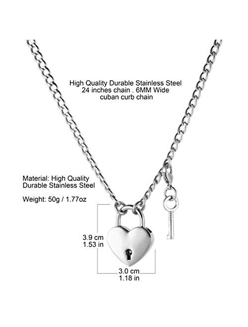 HZMAN Lover Heart Padlock Necklace Stainless Steel Padlock Collar Choker for Men Women with Lock and Key 24 Inch