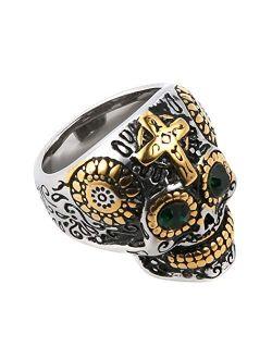 Biker Cool Sugar Skull Rings For Men Women, Ruby Eyes Stainless Steel Day Of The Dead Gothic Cross Jewelry