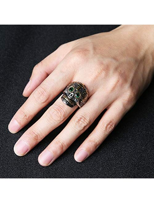 HZMAN Biker Cool Sugar Skull Rings for Men Women, Ruby Eyes Stainless Steel Day of The Dead Gothic Cross Jewelry