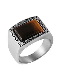 Vintage Retro Style Brown Men's Simple Polished Stainless Steel Ring