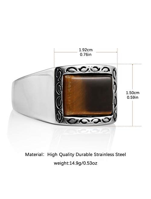 HZMAN Vintage Retro Style Brown Men's Simple Polished Stainless Steel Ring