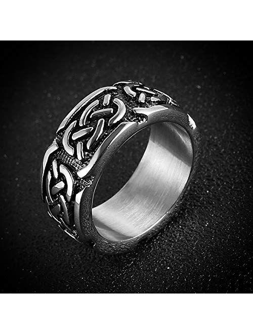 HZMAN Men Stainless Steel Ring Viking Valknut Vegvisir Pirate Norse Symbol Vintage Jewelry