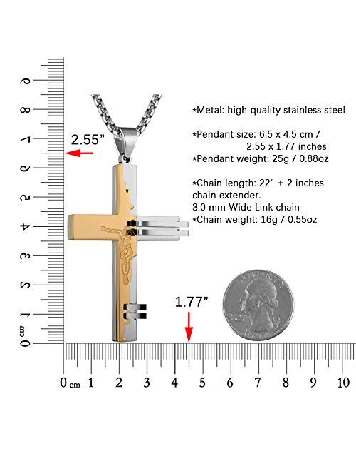HZMAN Men's Stainless Steel Crucifix Christ Cross Religion Jesus Pendant Necklace with 22 + 2 Inch Chain