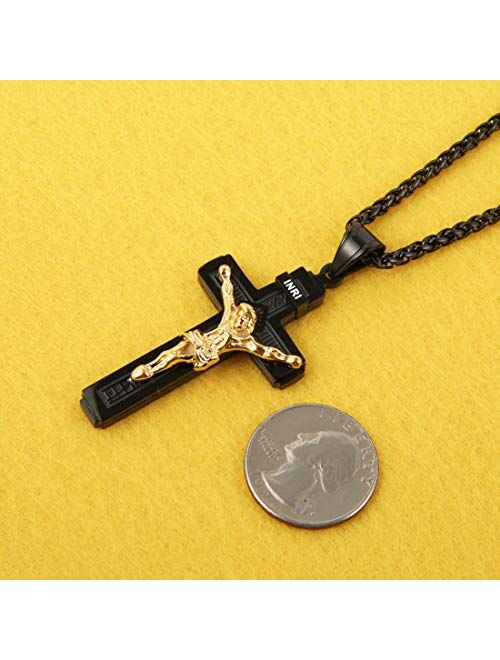 HZMAN Catholic Jesus Christ on INRI Cross Crucifix Gold Silver Tone stainless steel Pendant Necklace 22+2 Chain