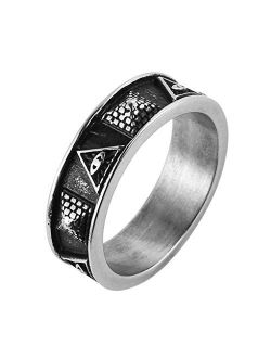 Men Stainless Steel Ring The All-seeing-eye Illuminati Eye Of Providence Pyramid/eye Symbol