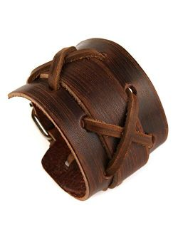 Authentic Wide Genuine Leather Casual Mens Brown Cuff Bangle Bracelet