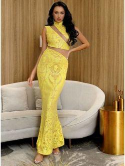 LOVE&LEMONADE Mesh Insert Sequin Mermaid Prom Dress