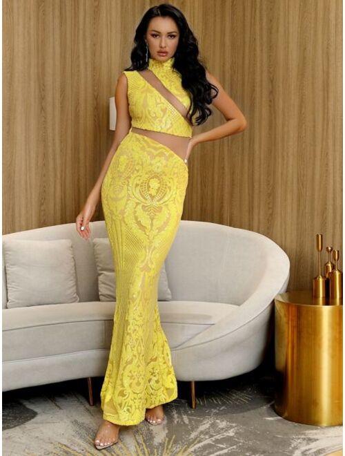 Shein LOVE&LEMONADE Mesh Insert Sequin Mermaid Prom Dress