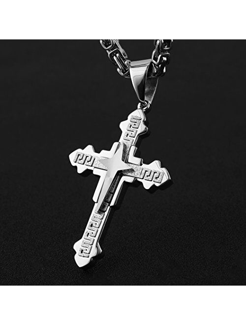 "HZMAN Men's Stainless Steel Silver/Gold Greek Key Cross Pendant Necklace Mechanic Style 22 24 30"" Chain"