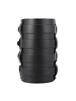 Mens Leather Wide Triple Strap Cuff Wrap Gauntlet Wristband Buckle Fastening Arm Armor Cuff 4 Rows