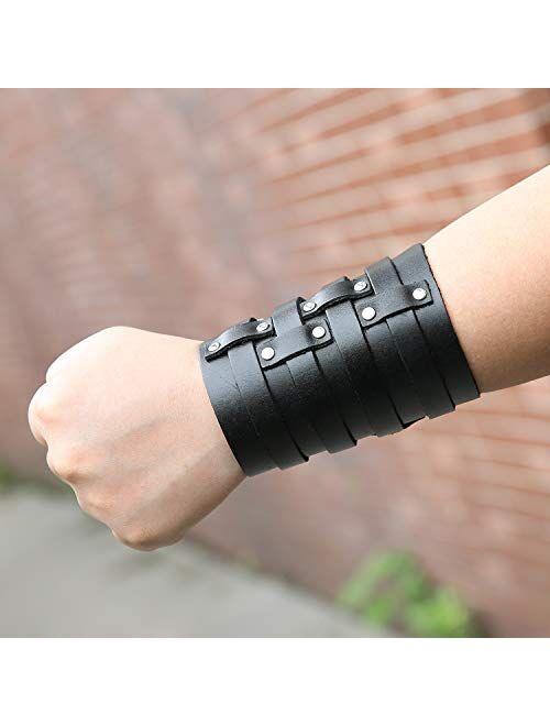 HZMAN Mens Leather Wide Triple Strap Cuff Wrap Gauntlet Wristband Buckle Fastening Arm Armor Cuff 4 Rows