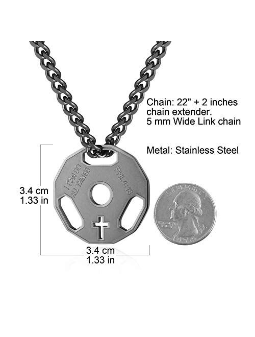 HZMAN Mens Fashion Stainless Steel Fitness Gym Dumbbell Weight Plate Barbell Chain Pendant Necklace