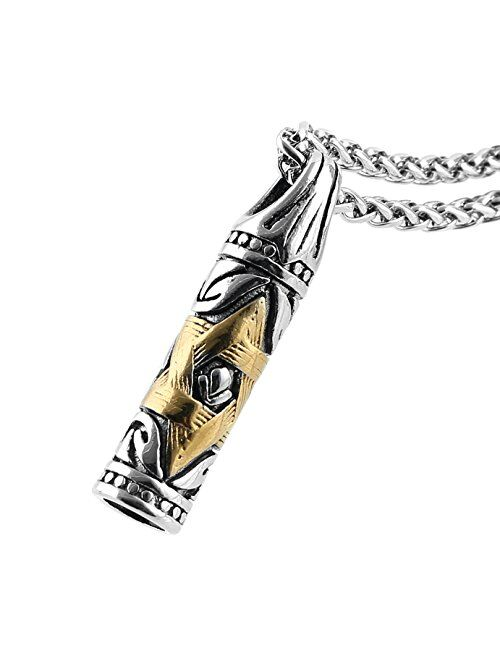 HZMAN Jewish Jewelry Magen Star of David Bullet Pendant Necklace Chain Stainless Steel Israel Necklace
