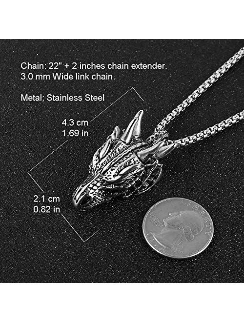 "HZMAN Stainless Steel Dragon Head Pendant Necklace for Men Women Vintage Gothic 22+2"" Chain"