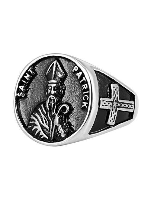 HZMAN Catholic Saint St. Patrick Day Irish Patron Celtic Cross Ring