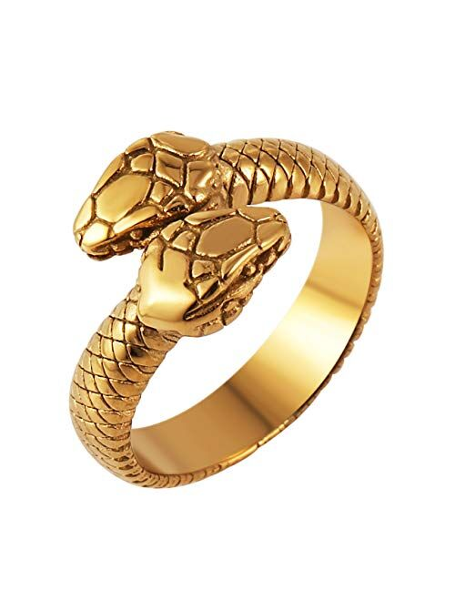 HZMAN Gothic Jewelry Retro Double Snake Head Loop Fashion Animal Personality Stainless Steel Ring
